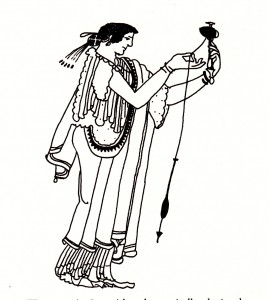Greek woman spinning