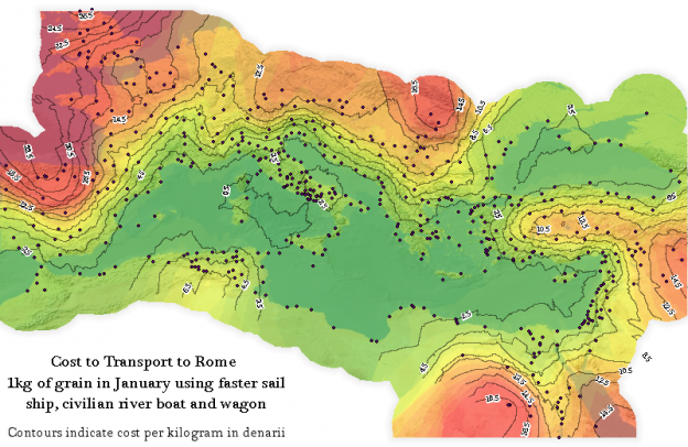Isograms of cost of food transport to Rome