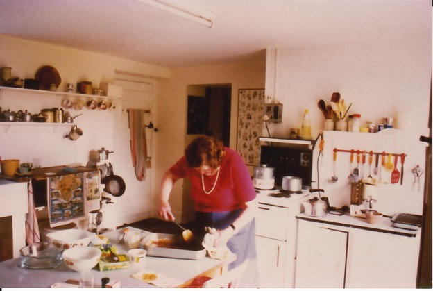 My mother making gravy (years after the period I am describing).